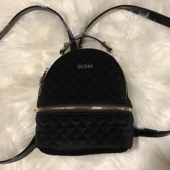 b912a404eb Guess Handbags - Black Velvet GUESS mini backpack purse